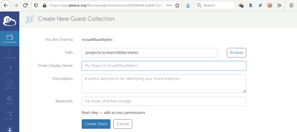 create and name you endpoint