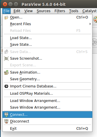 Connect option on the File menu in the ParaView client GUI.