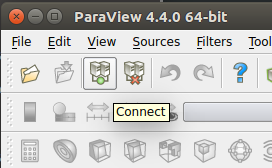 The Connect to server button in the ParaView client GUI.