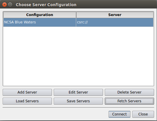 The Choose Server Configuration dialog with imported NCSA configuration and highlighted Connect button.