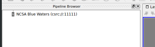 View of the Pipeline Browser showing the connection to Blue Waters.