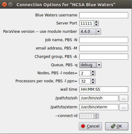 The initial Connection Options dialog window.