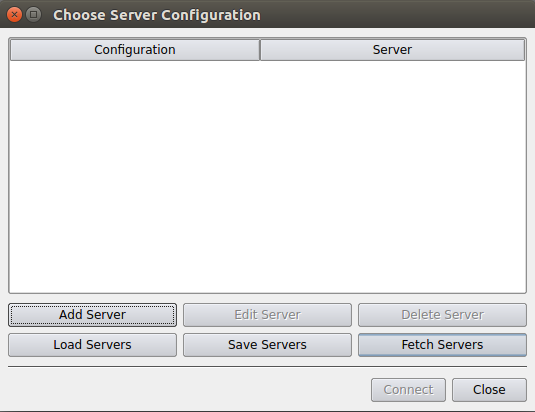 Choose Server Configuration dialog window with Fetch Servers button highlighted.