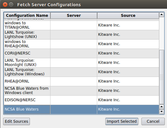 Fetch Server Configuration dialog window showing a highlighted NCSA server configuration.