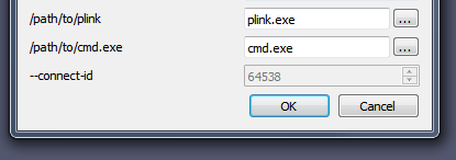 Windows version of the job options dialog showing plink and cmd text entry boxes.